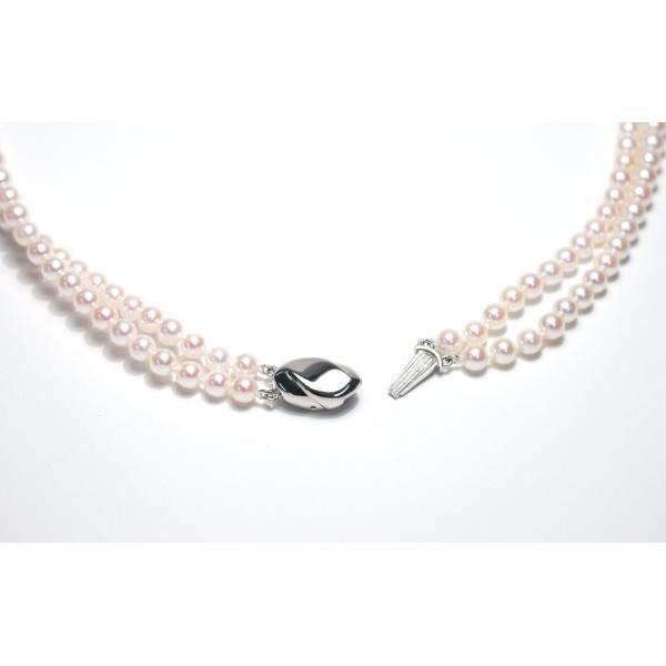 パール2連ネックレス アコヤ真珠5-5.5mm SV ピンク系ホワイト色 2連 チョーカー パーティー|wizem|02