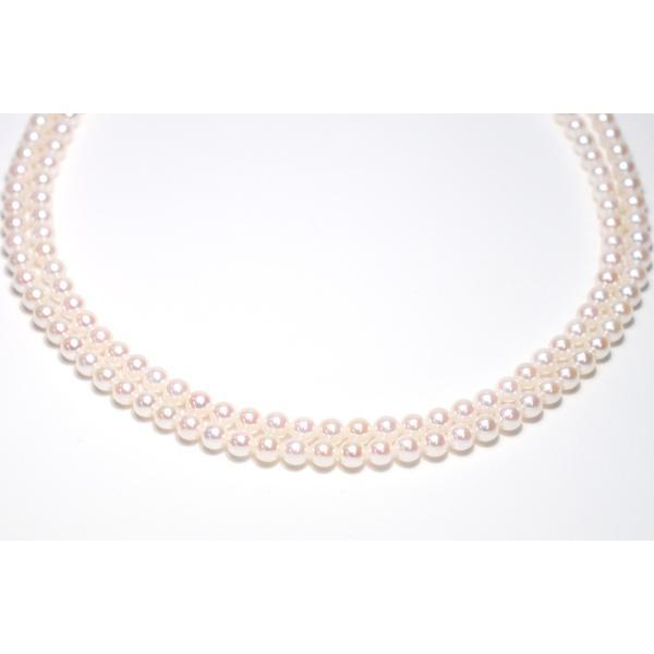 パール2連ネックレス アコヤ真珠5-5.5mm SV ピンク系ホワイト色 2連 チョーカー パーティー|wizem|03