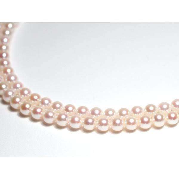 パール2連ネックレス アコヤ真珠5-5.5mm SV ピンク系ホワイト色 2連 チョーカー パーティー|wizem|06