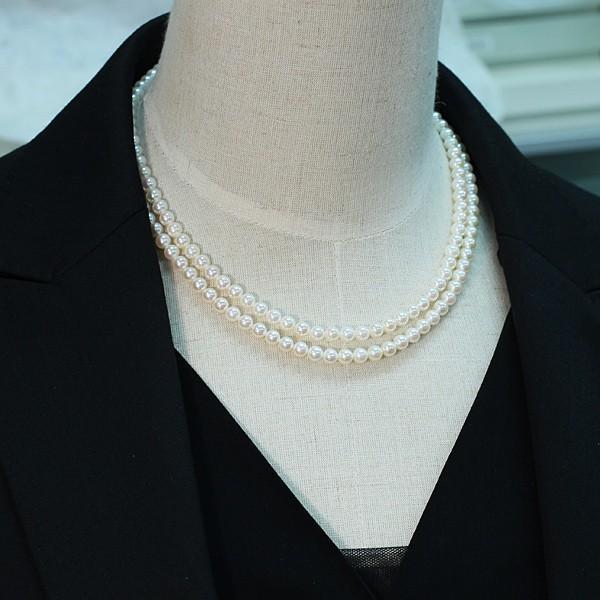 パール2連ネックレス アコヤ真珠5-5.5mm SV ピンク系ホワイト色 2連 チョーカー パーティー|wizem|07