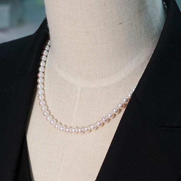 あこやベビーパールネックレス5.5-6mmセミラウンド形SV金具込約42cm 真珠 ネックレス|wizem|05