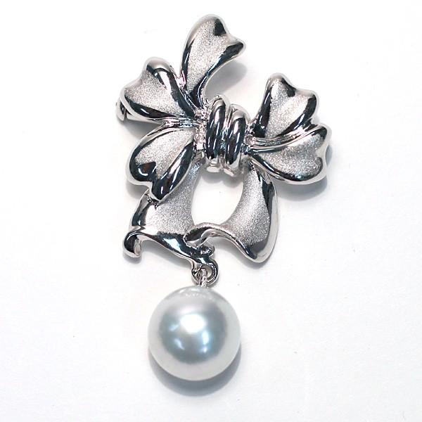 パールブローチ兼ペンダント リボンモチーフSILVER 白蝶真珠9.5mmが揺れる|wizem