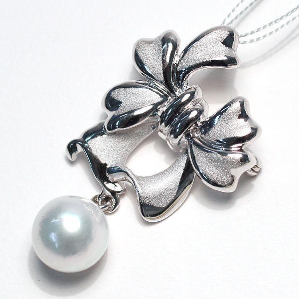 パールブローチ兼ペンダント リボンモチーフSILVER 白蝶真珠9.5mmが揺れる|wizem|03