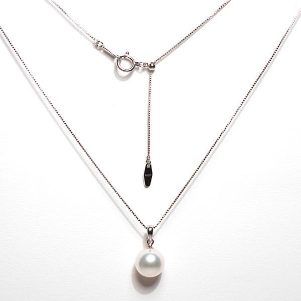 定番プラチナ枠パールペンダントあこや真珠9.0mm長さが変えられるプラチナネックレス45cm付誕生石6月日本製ギフトラッピング|wizem|02