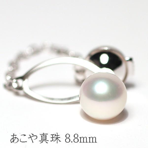 アコヤ真珠8.9mmタイタック プラチナ製pt900タック針 冠婚葬祭ギフトラッピング|wizem