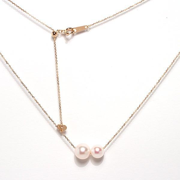 2たまパールスルーK18ネックレスあこや真珠7.9mmと6.6mm長さ調整できるフリー45cm |wizem