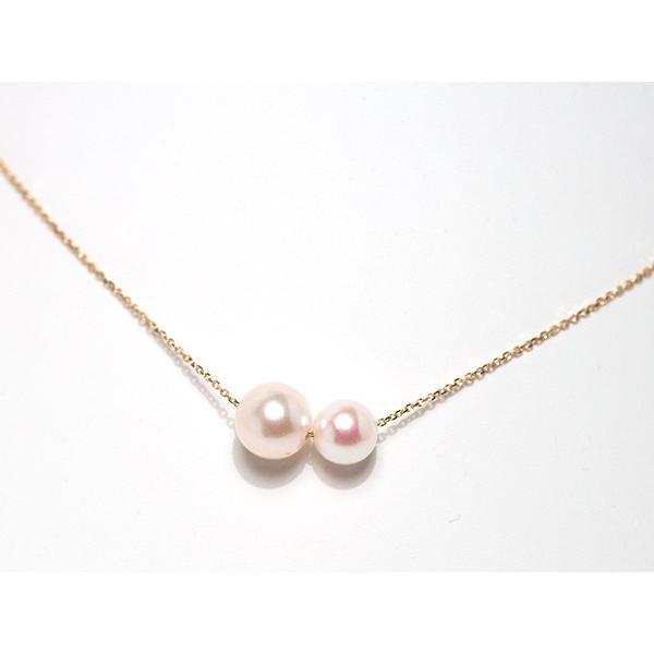 2たまパールスルーK18ネックレスあこや真珠7.9mmと6.6mm長さ調整できるフリー45cm |wizem|02