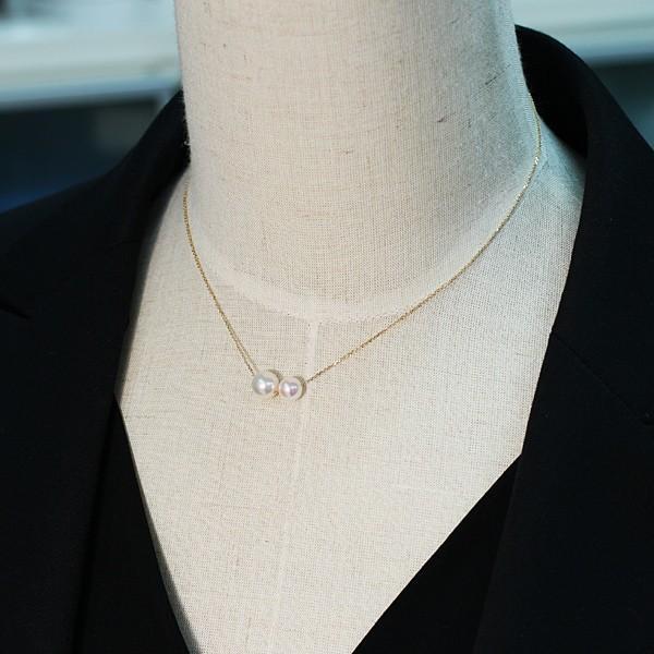 2たまパールスルーK18ネックレスあこや真珠7.9mmと6.6mm長さ調整できるフリー45cm |wizem|03