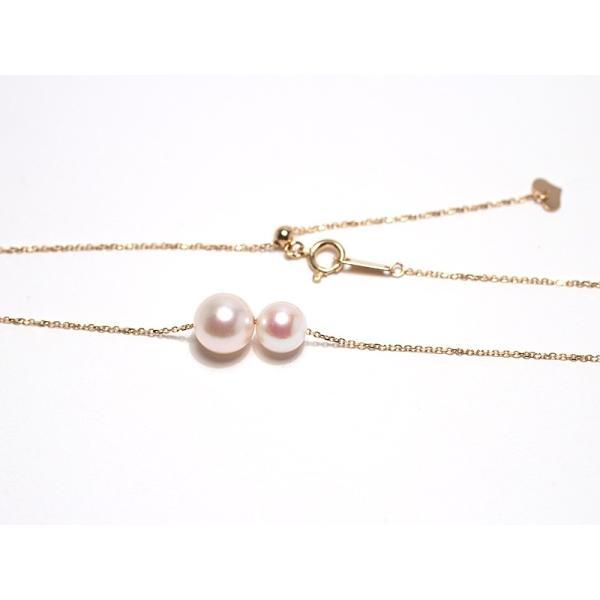 2たまパールスルーK18ネックレスあこや真珠7.9mmと6.6mm長さ調整できるフリー45cm |wizem|04