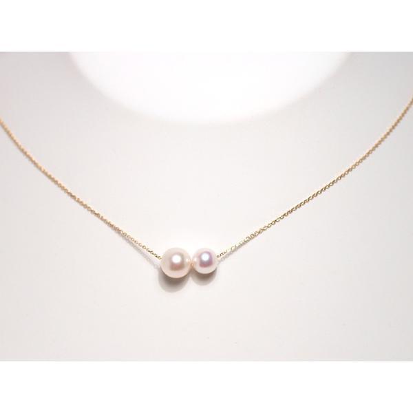 2たまパールスルーK18ネックレスあこや真珠7.9mmと6.6mm長さ調整できるフリー45cm |wizem|05