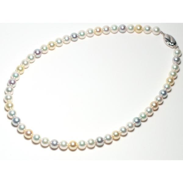 マルチカラーパールネックレス オールナチュラル色染めでない色アコヤ真珠7.5-8mmネックレスSVクラスプ|wizem|02