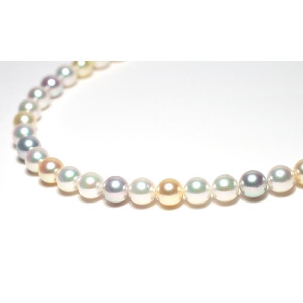 マルチカラーパールネックレス オールナチュラル色染めでない色アコヤ真珠7.5-8mmネックレスSVクラスプ|wizem|03