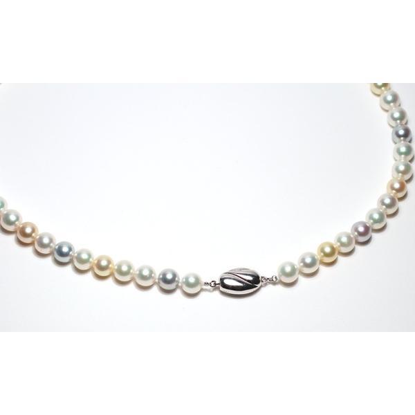 マルチカラーパールネックレス オールナチュラル色染めでない色アコヤ真珠7.5-8mmネックレスSVクラスプ|wizem|04