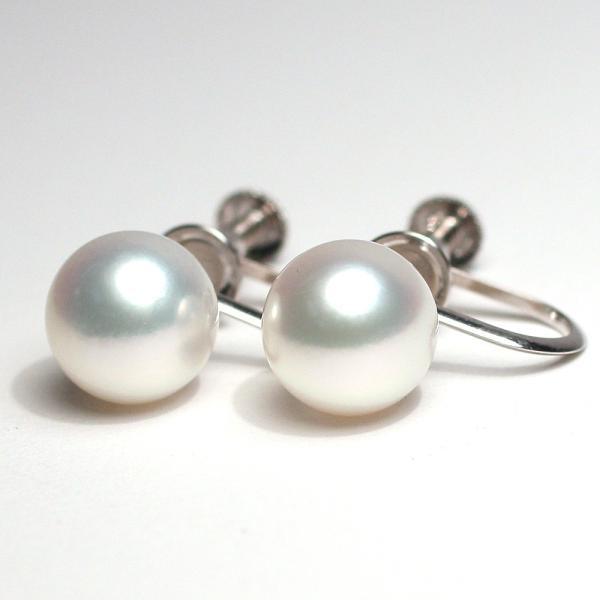 パールイヤリングあこや真珠8.6mmK14WGネジ式イヤリング ホワイト色|wizem