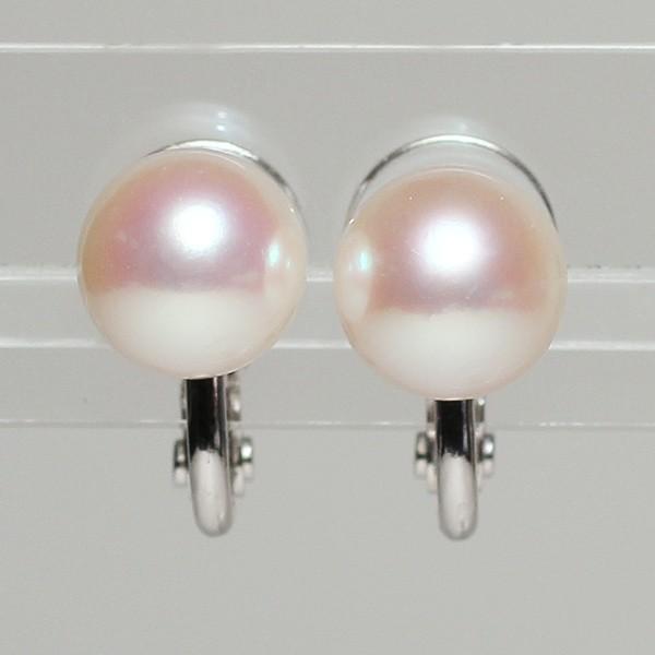 パールイヤリングあこや真珠8.8mmSILVERソフトタッチイヤリング|wizem