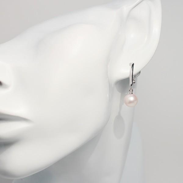 パールイヤリング8mmシルバー製ソフトタッチイヤリング正面からみた全長約27mm真珠含む 微調整可ピアスっぽく見える|wizem|02
