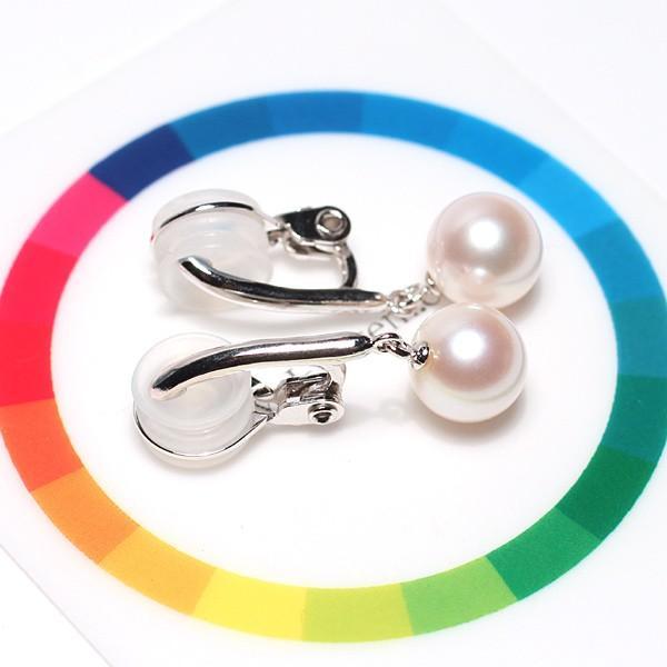 パールイヤリング8mmシルバー製ソフトタッチイヤリング正面からみた全長約27mm真珠含む 微調整可ピアスっぽく見える|wizem|07