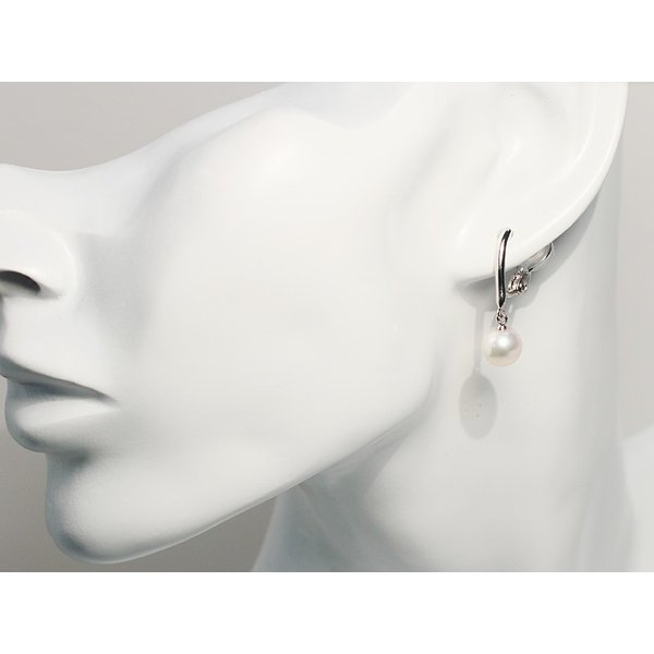 アコヤパールイヤリング7.7mmシルバー製ソフトタッチイヤリング正面からみた全長約25mm真珠含むピアスに見えるイヤリング|wizem|05