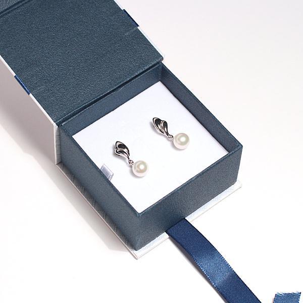 パールイヤリングあこや真珠直径8mmSILVERネジバネ式イヤリング正面からみた全長約24.5mm|wizem|05