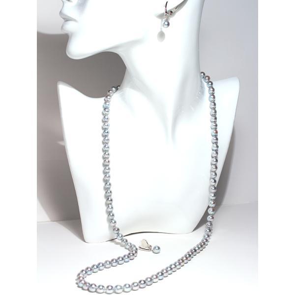 パールイヤリングあこや真珠青系色7.3mmシルバー製ソフトタッチイヤリング正面からみた全長約25mm真珠含むピアスっぽく見えるイヤリング wizem