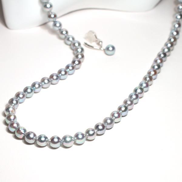 パールイヤリングあこや真珠青系色7.3mmシルバー製ソフトタッチイヤリング正面からみた全長約25mm真珠含むピアスっぽく見えるイヤリング wizem 04