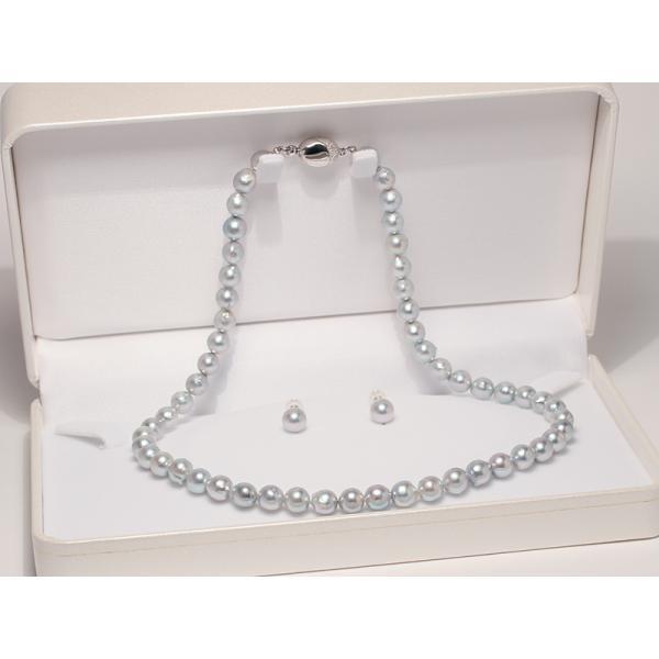 パールピアスアコヤ真珠7.4mmブルー系色 K14WGホワイトゴールドスタッドピアス |wizem|02