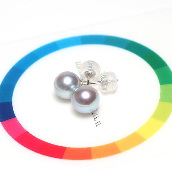 パールピアスアコヤ真珠7.4mmブルー系色 K14WGホワイトゴールドスタッドピアス |wizem|03