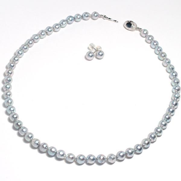 パールピアスアコヤ真珠7.4mmブルー系色 K14WGホワイトゴールドスタッドピアス |wizem|04