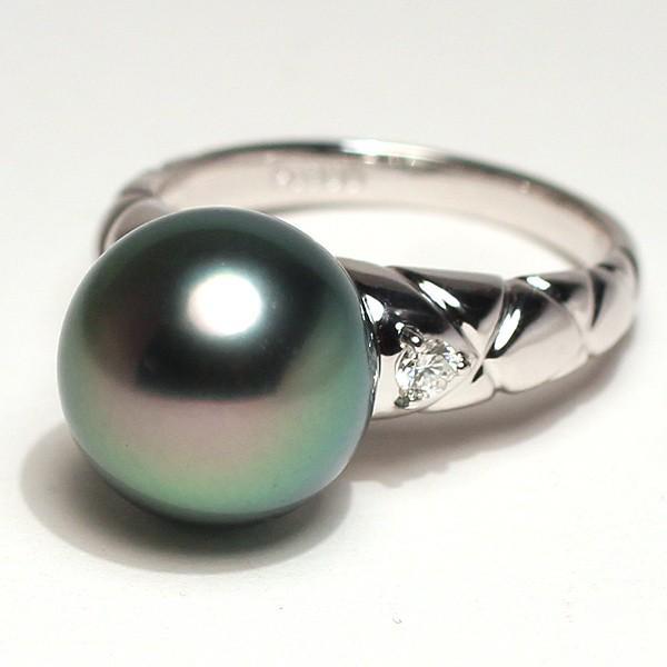 ブラックパールリング 黒蝶真珠11.7mmプラチナダイヤ指輪オーロラピーコック鑑別書付属サイズ13高機能ケースパールキーパー入り|wizem|02