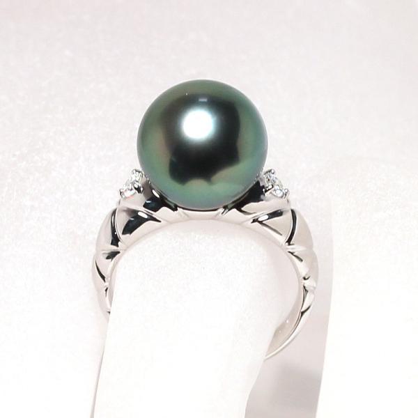 ブラックパールリング 黒蝶真珠11.7mmプラチナダイヤ指輪オーロラピーコック鑑別書付属サイズ13高機能ケースパールキーパー入り|wizem|04