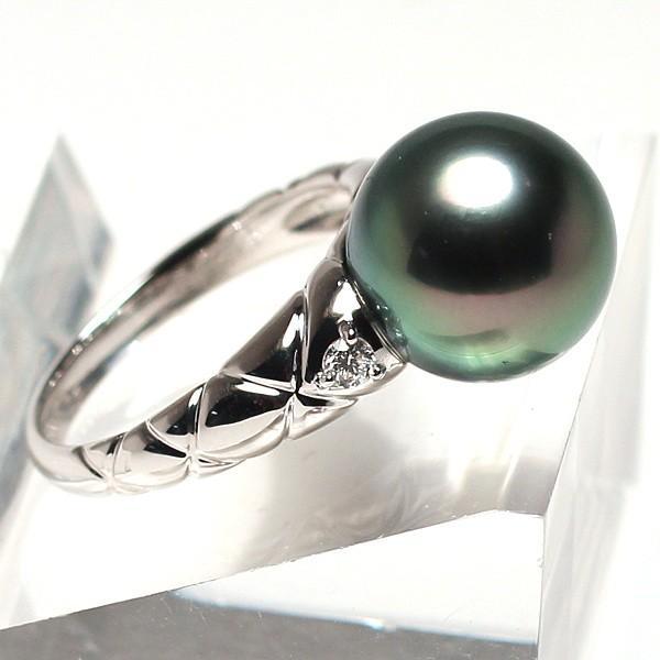 ブラックパールリング 黒蝶真珠11.7mmプラチナダイヤ指輪オーロラピーコック鑑別書付属サイズ13高機能ケースパールキーパー入り|wizem|05
