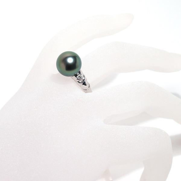 ブラックパールリング 黒蝶真珠11.7mmプラチナダイヤ指輪オーロラピーコック鑑別書付属サイズ13高機能ケースパールキーパー入り|wizem|07