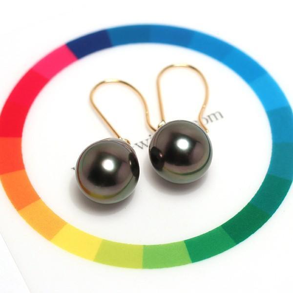 ブラックパールピアス黒蝶真珠少々いびつなドロップ形幅9.8mm縦11.5mmUPつりばりフックピアスK18|wizem|05