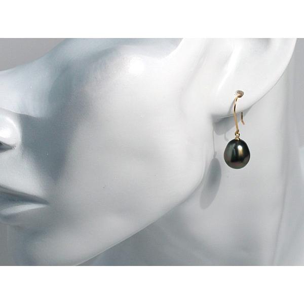 ブラックパールピアス黒蝶真珠少々いびつなドロップ形幅9.8mm縦11.5mmUPつりばりフックピアスK18|wizem|06