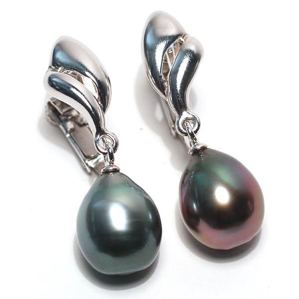 ブラックパールイヤリングくろちょう真珠幅8.9mm縦10.9mmUP SILVERネジ式 揺れるイヤリング|wizem