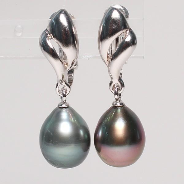 ブラックパールイヤリングくろちょう真珠幅8.9mm縦10.9mmUP SILVERネジ式 揺れるイヤリング|wizem|02