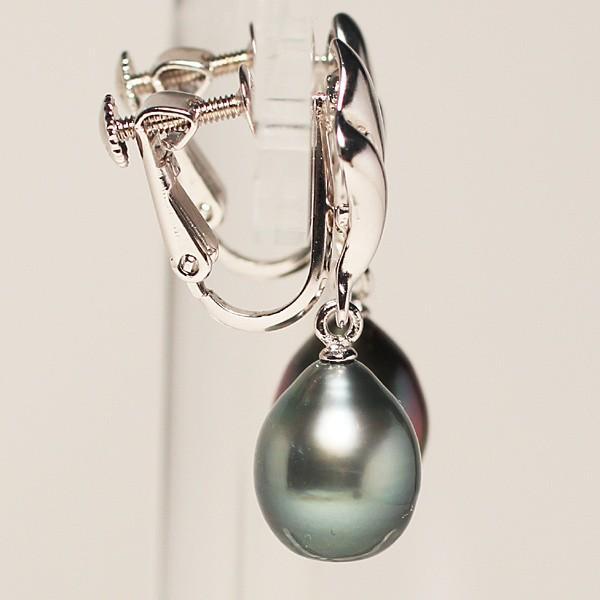 ブラックパールイヤリングくろちょう真珠幅8.9mm縦10.9mmUP SILVERネジ式 揺れるイヤリング|wizem|03