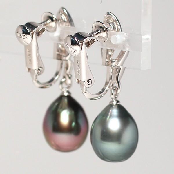 ブラックパールイヤリングくろちょう真珠幅8.9mm縦10.9mmUP SILVERネジ式 揺れるイヤリング|wizem|04