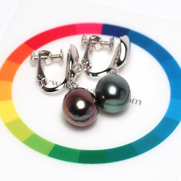 ブラックパールイヤリングくろちょう真珠幅8.9mm縦10.9mmUPSILVERネジ式スウイングイヤリング|wizem|06