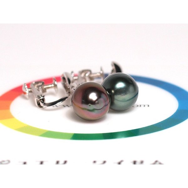 ブラックパールイヤリングくろちょう真珠幅8.9mm縦10.9mmUP SILVERネジ式 揺れるイヤリング|wizem|07