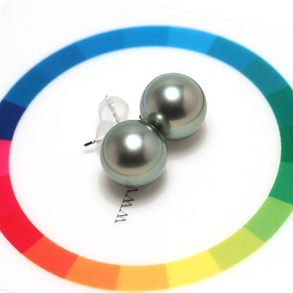 ブラックパールピアス タヒチ黒真珠9.7mmスタッド直結ホワイトゴールドK14WG|wizem|06