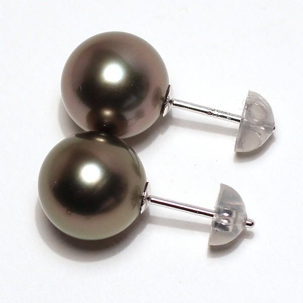 ブラックパールピアス タヒチ黒真珠9.8mmスタッド直結ホワイトゴールドピアスK14WG|wizem|02