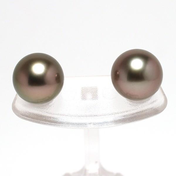 ブラックパールピアス タヒチ黒真珠9.8mmスタッド直結ホワイトゴールドピアスK14WG|wizem|03