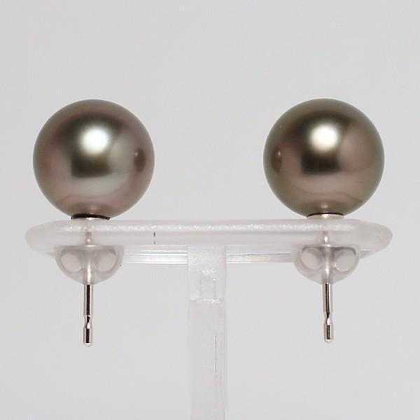 ブラックパールピアス タヒチ黒真珠9.8mmスタッド直結ホワイトゴールドピアスK14WG|wizem|05