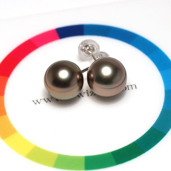 ブラックパールピアス タヒチ黒真珠9.8mmスタッド直結ホワイトゴールドピアスK14WG|wizem|06