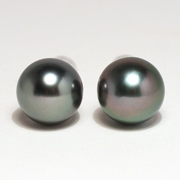 ブラックパールピアス タヒチ黒真珠10.2mmスタッド直結ホワイトゴールドピアスK14WG|wizem