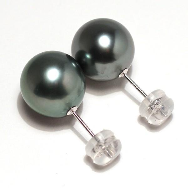 ブラックパールピアス タヒチ黒真珠10.2mmスタッド直結ホワイトゴールドピアスK14WG|wizem|02