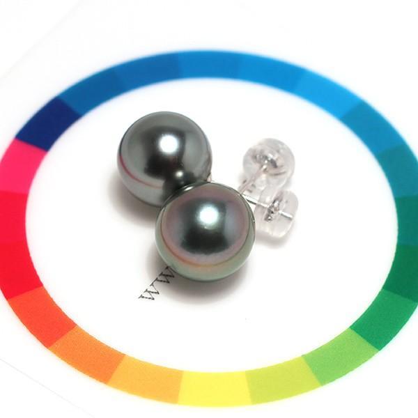 ブラックパールピアス タヒチ黒真珠10.2mmスタッド直結ホワイトゴールドピアスK14WG|wizem|06