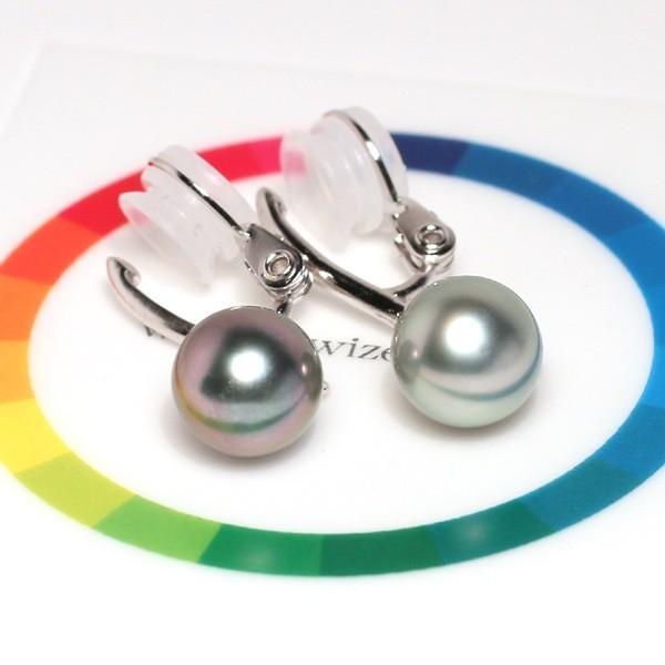 ブラックパールイヤリング幅9.3mm縦10mmUP 色の違う黒蝶真珠 シルバー製ソフトタッチイヤリング正面からみた全長約28mm真珠含む wizem 07