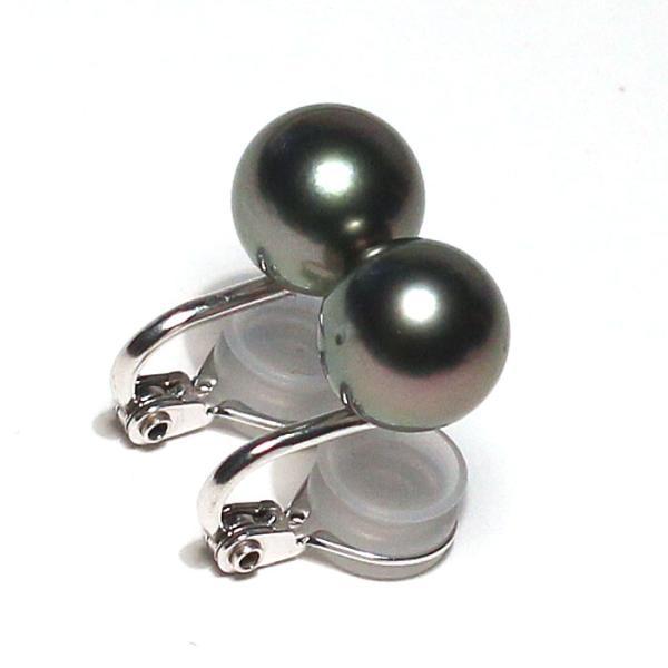 ブラックパールイヤリング タヒチ黒真珠9.9mm微調整できるシルバー製ソフトタッチイヤリング|wizem